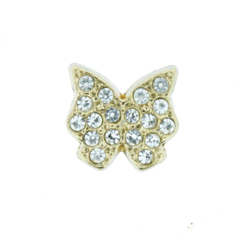 Borboleta - Dourada com Strass - 10mm  - Stéphanie Bijoux® - Peças para Bijuterias e Artesanato