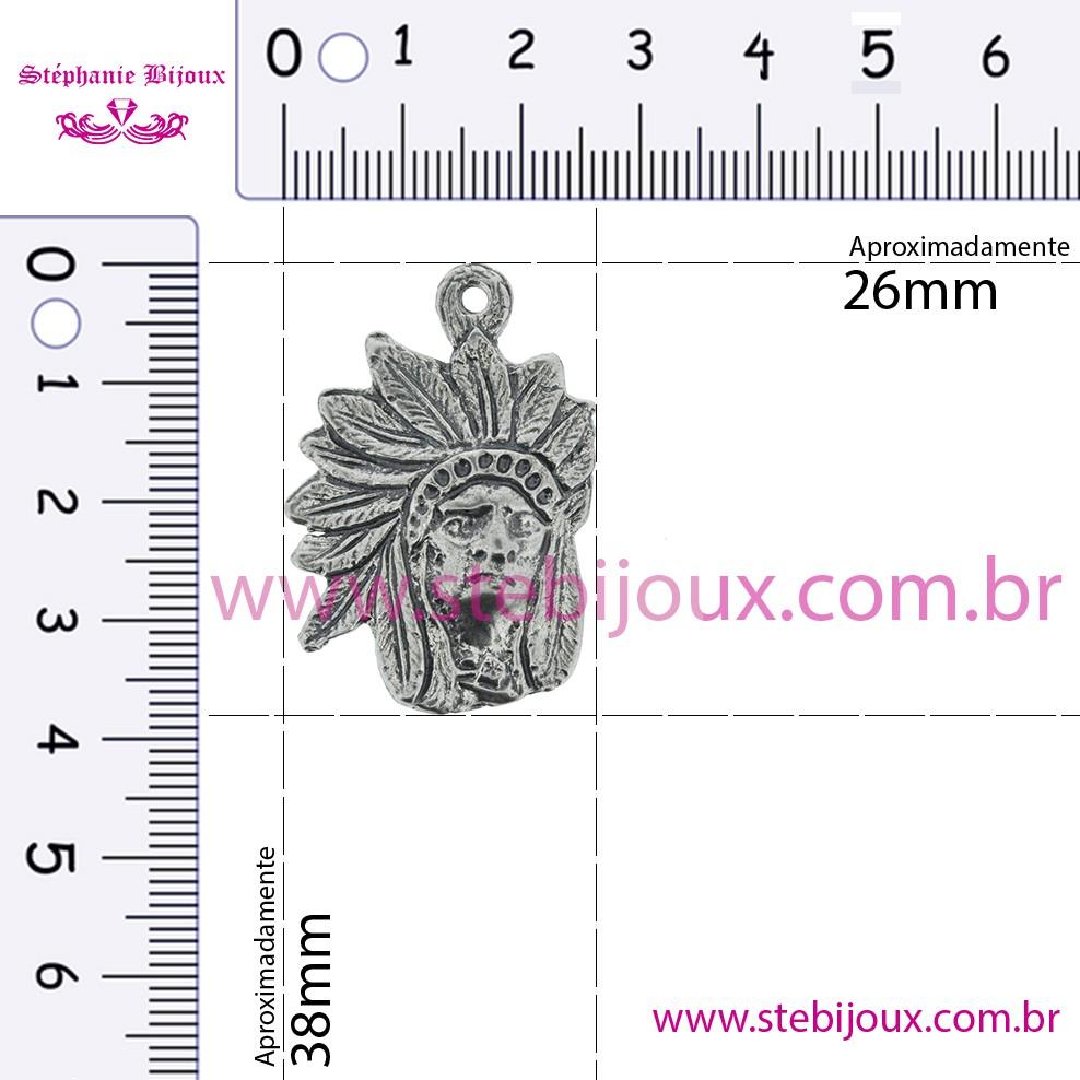 Caboclo Sete Flechas - Níquel Velho - 38mm  - Stéphanie Bijoux® - Peças para Bijuterias e Artesanato
