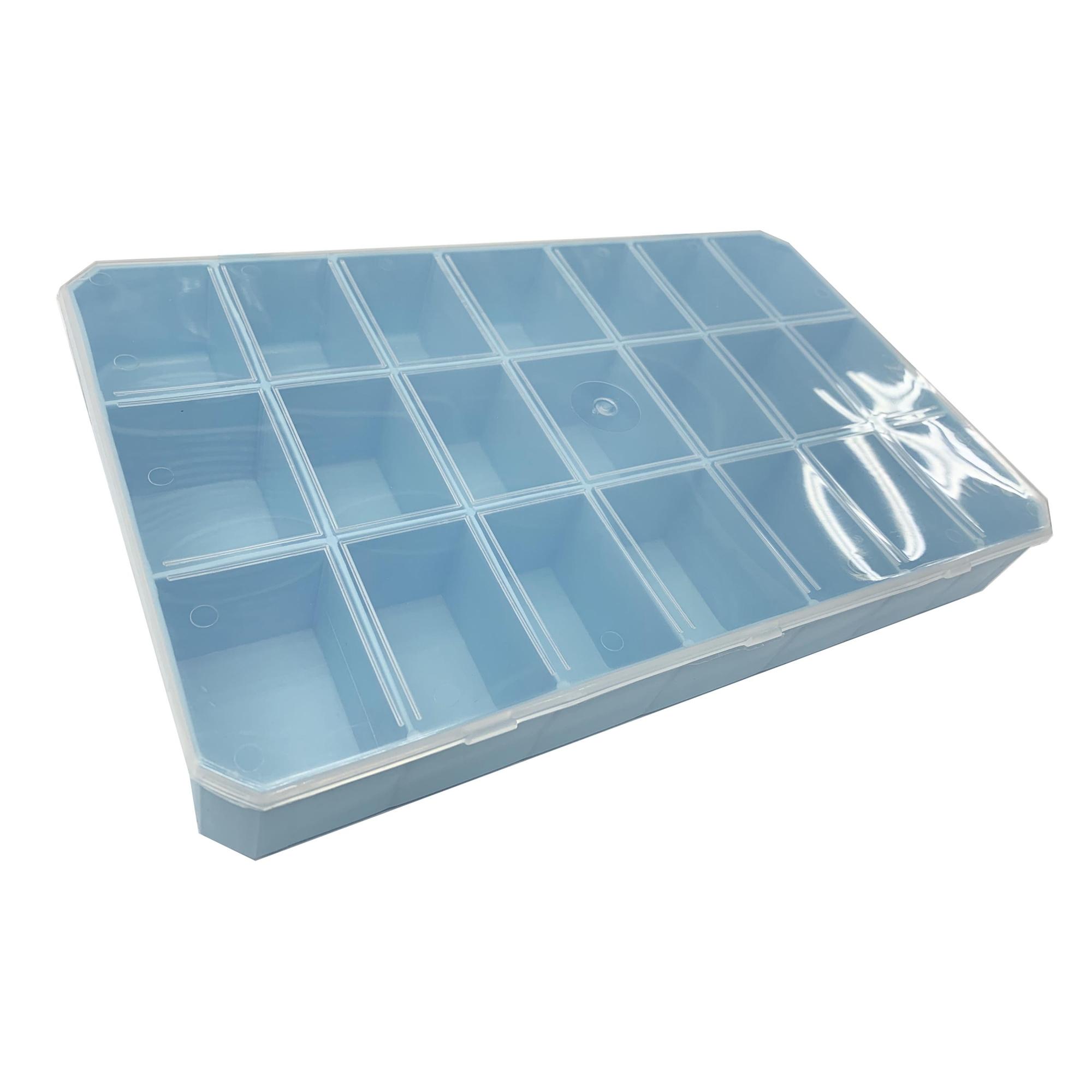 Caixa Organizadora - Transparente e Azul Clara  - Stéphanie Bijoux® - Peças para Bijuterias e Artesanato