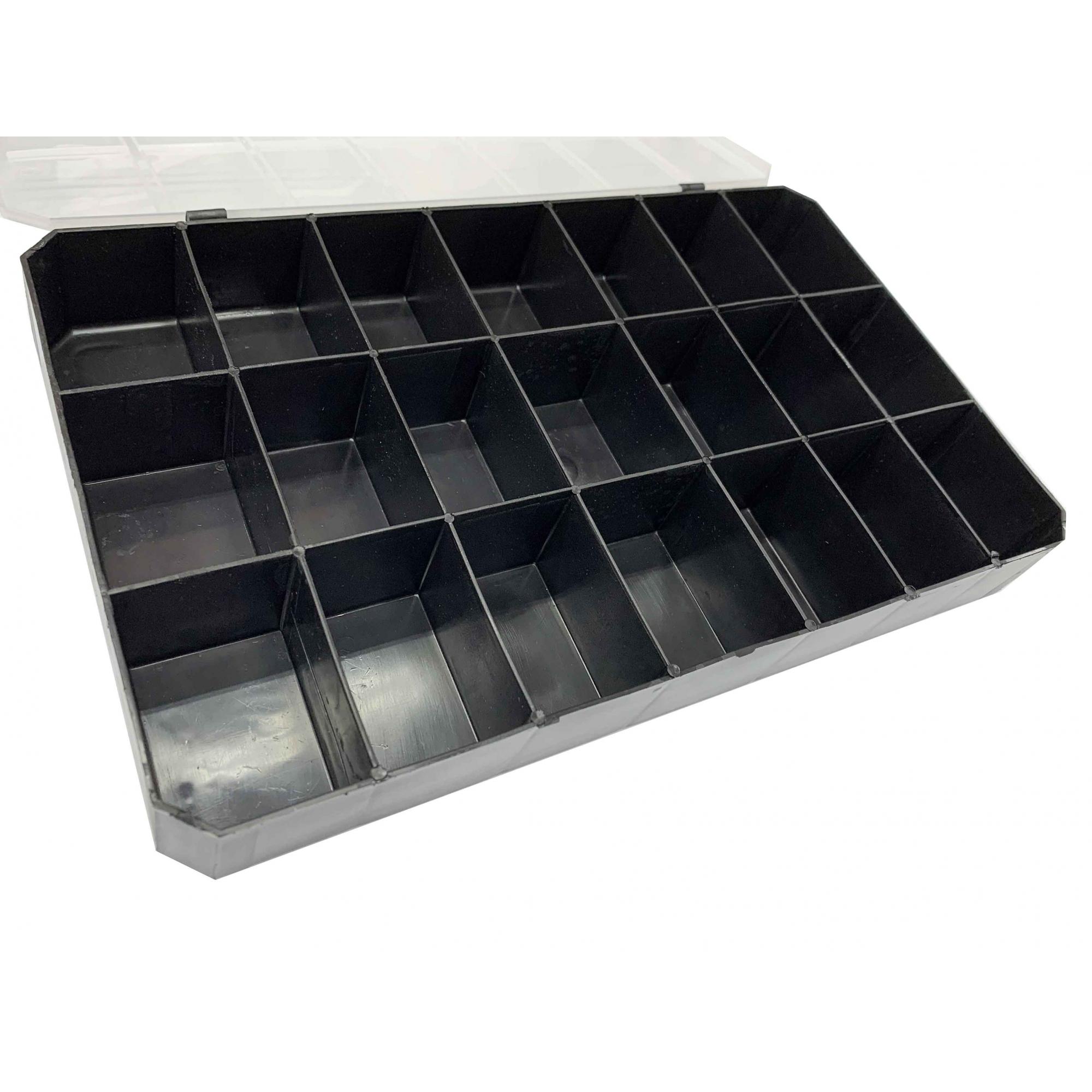 Caixa Organizadora - Transparente e Preto  - Stéphanie Bijoux® - Peças para Bijuterias e Artesanato