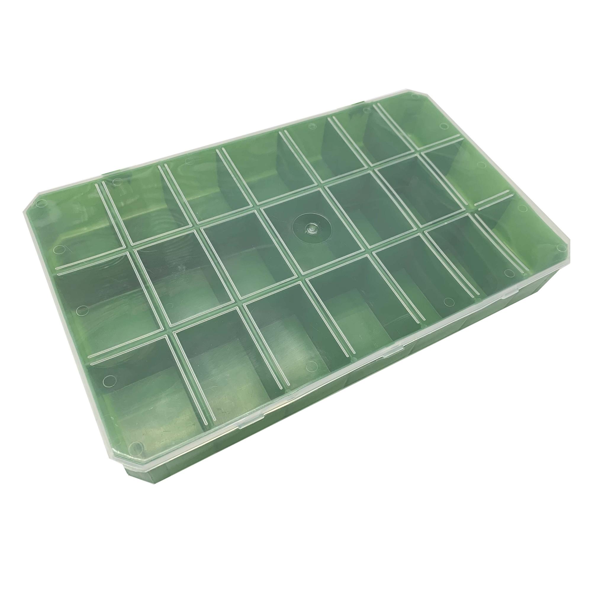 Caixa Organizadora - Transparente e Verde  - Stéphanie Bijoux® - Peças para Bijuterias e Artesanato