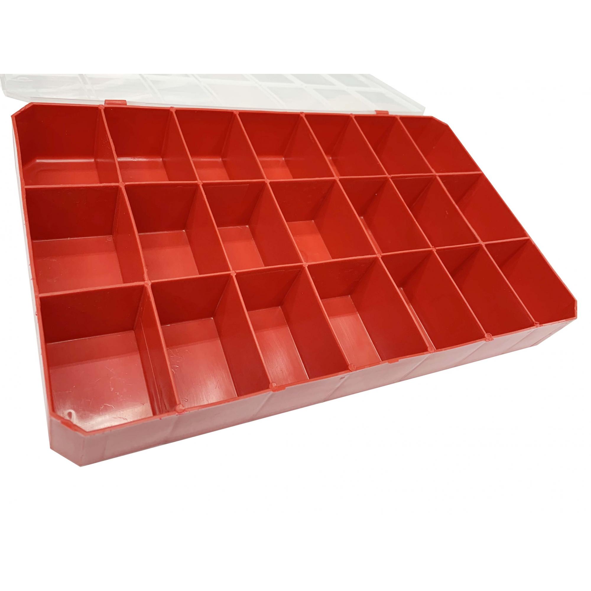 Caixa Organizadora - Transparente e Vermelho  - Stéphanie Bijoux® - Peças para Bijuterias e Artesanato