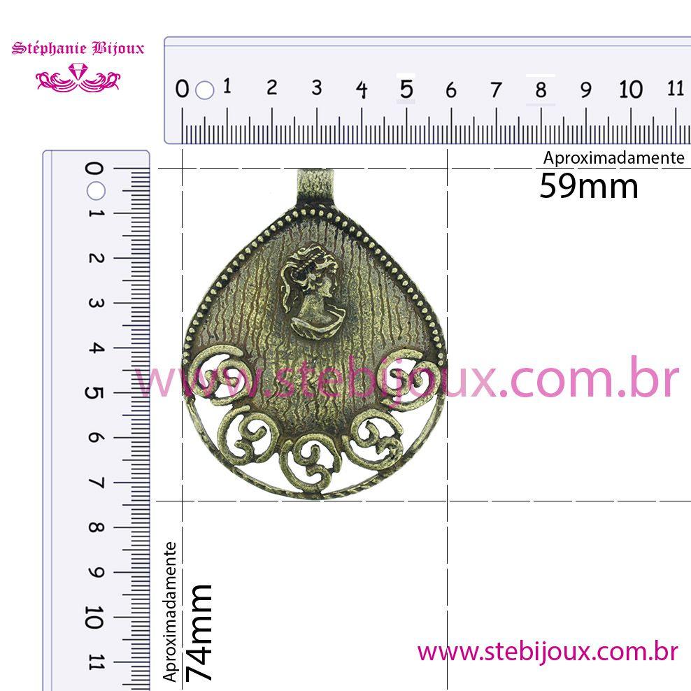 Camafeu Gota - Ouro Velho - 74mm  - Stéphanie Bijoux® - Peças para Bijuterias e Artesanato