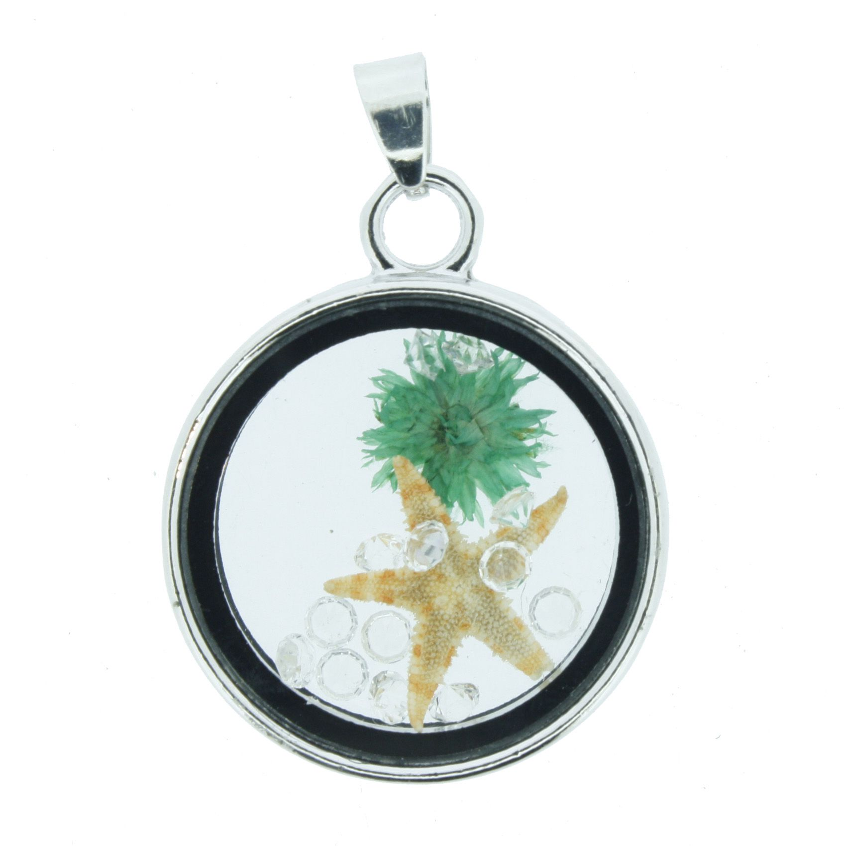 Cápsula Fundo do Mar - Transparente com Verde - 28mm  - Stéphanie Bijoux® - Peças para Bijuterias e Artesanato