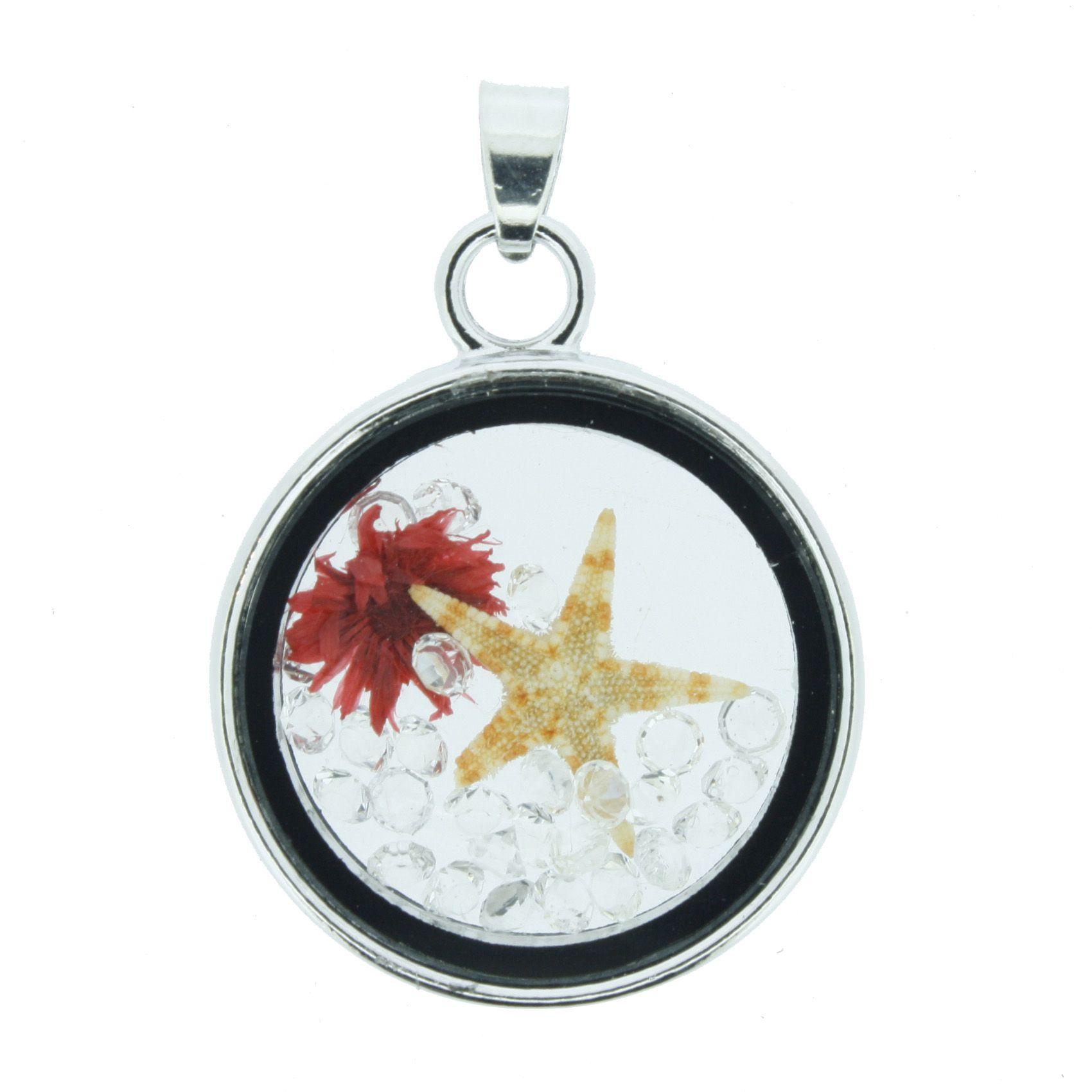 Cápsula Fundo do Mar - Transparente com Vermelho - 28mm  - Stéphanie Bijoux® - Peças para Bijuterias e Artesanato