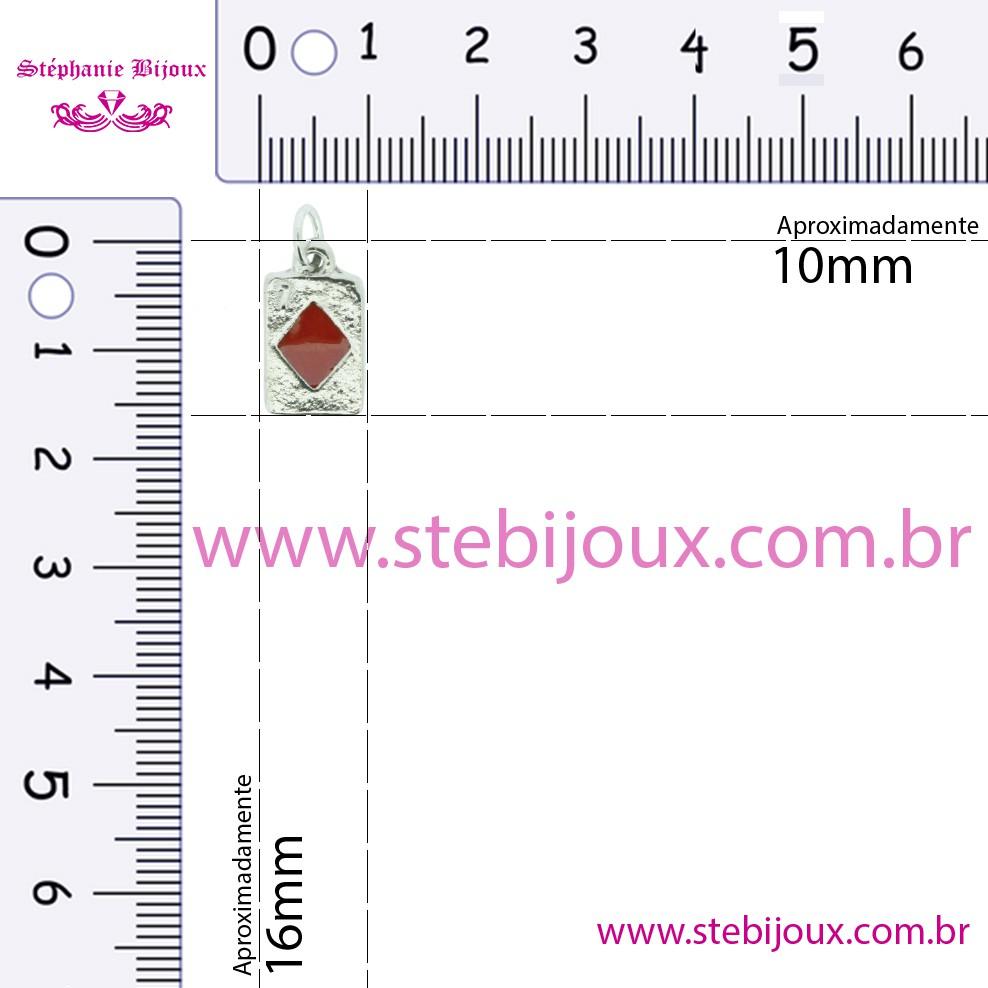 Carta Paus - Níquel e Resina - 16mm  - Stéphanie Bijoux® - Peças para Bijuterias e Artesanato