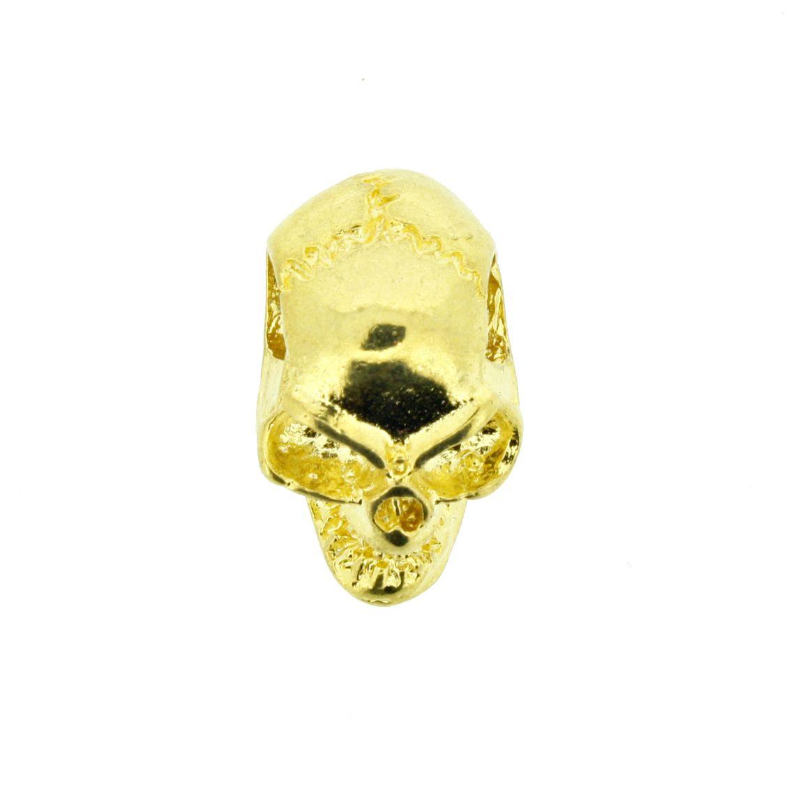 Caveira - Dourada - 17mm - 01 Peça  - Stéphanie Bijoux® - Peças para Bijuterias e Artesanato