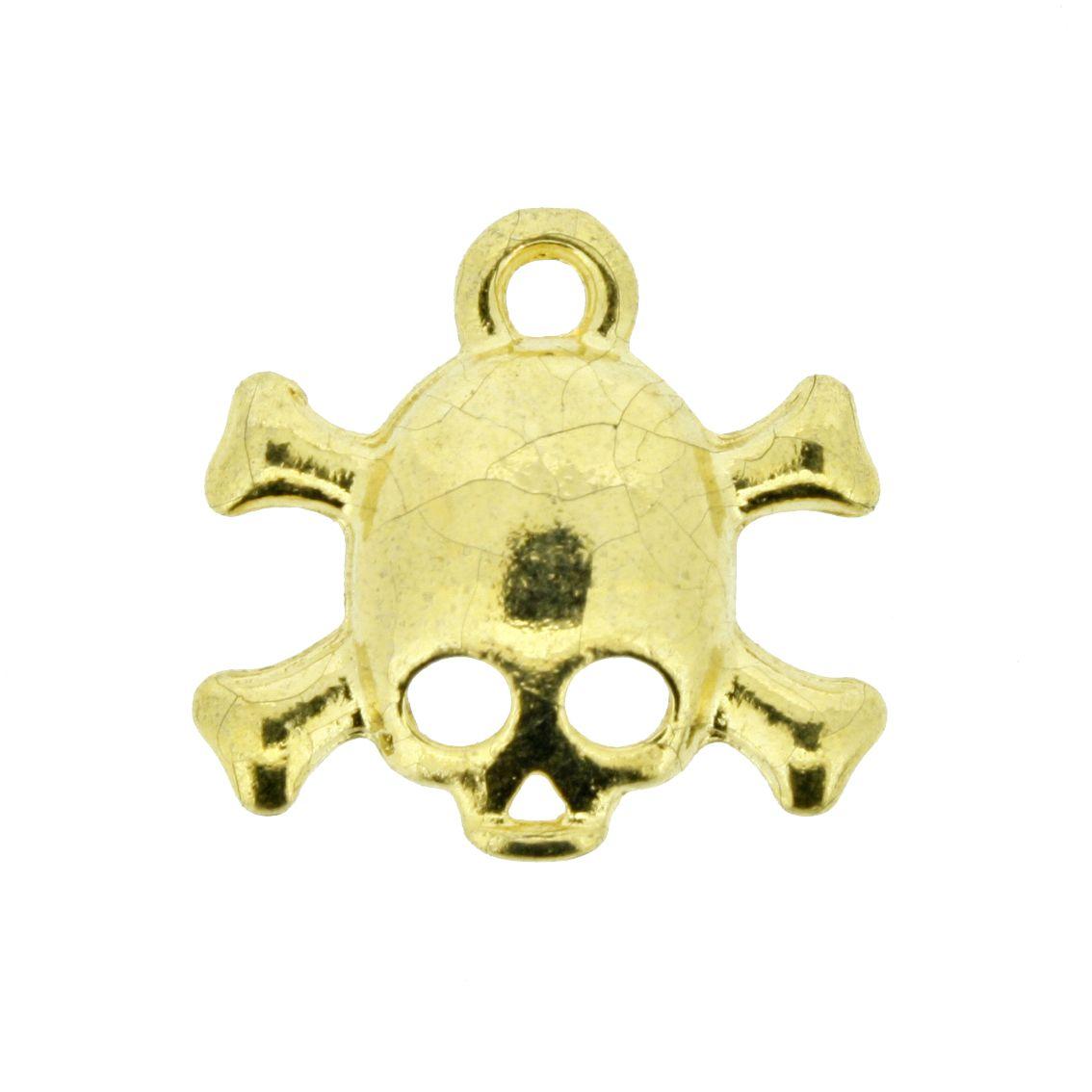Caveira - Dourada - 20mm - 01 Peça  - Stéphanie Bijoux® - Peças para Bijuterias e Artesanato