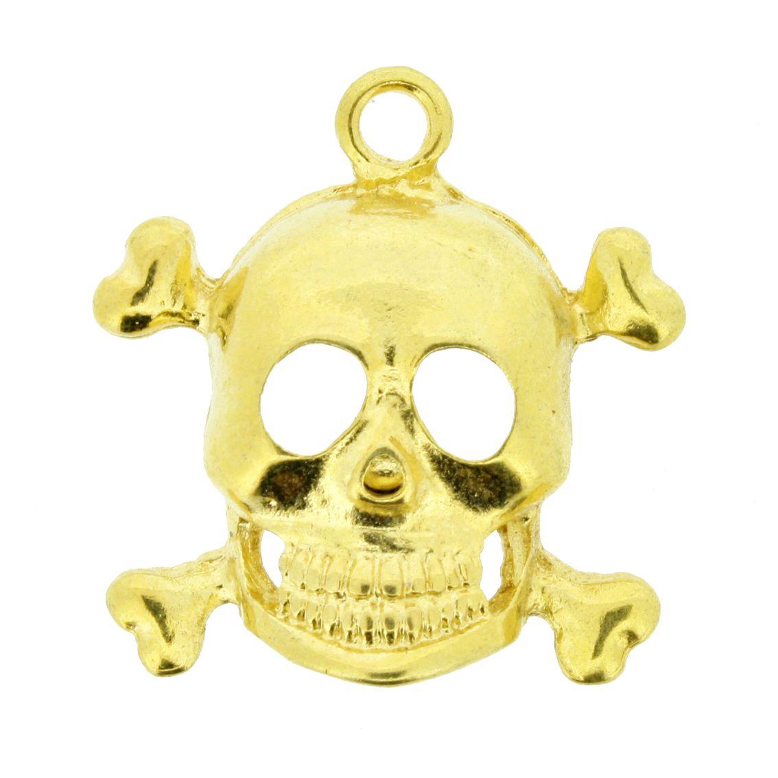 Caveira - Dourada - 25mm - 01 Peça  - Stéphanie Bijoux® - Peças para Bijuterias e Artesanato