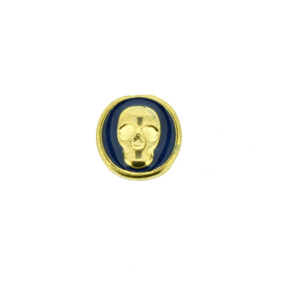 Caveira - Dourado com Azul - 9mm - 01 Peça  - Stéphanie Bijoux® - Peças para Bijuterias e Artesanato