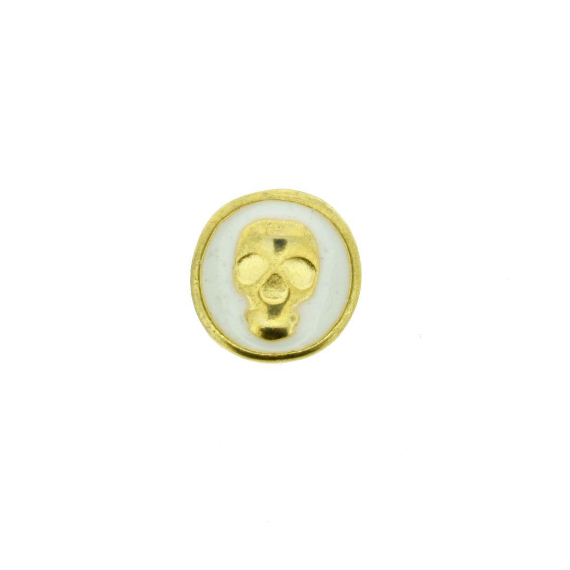 Caveira - Dourado com Branca - 9mm - 01 Peça  - Stéphanie Bijoux® - Peças para Bijuterias e Artesanato