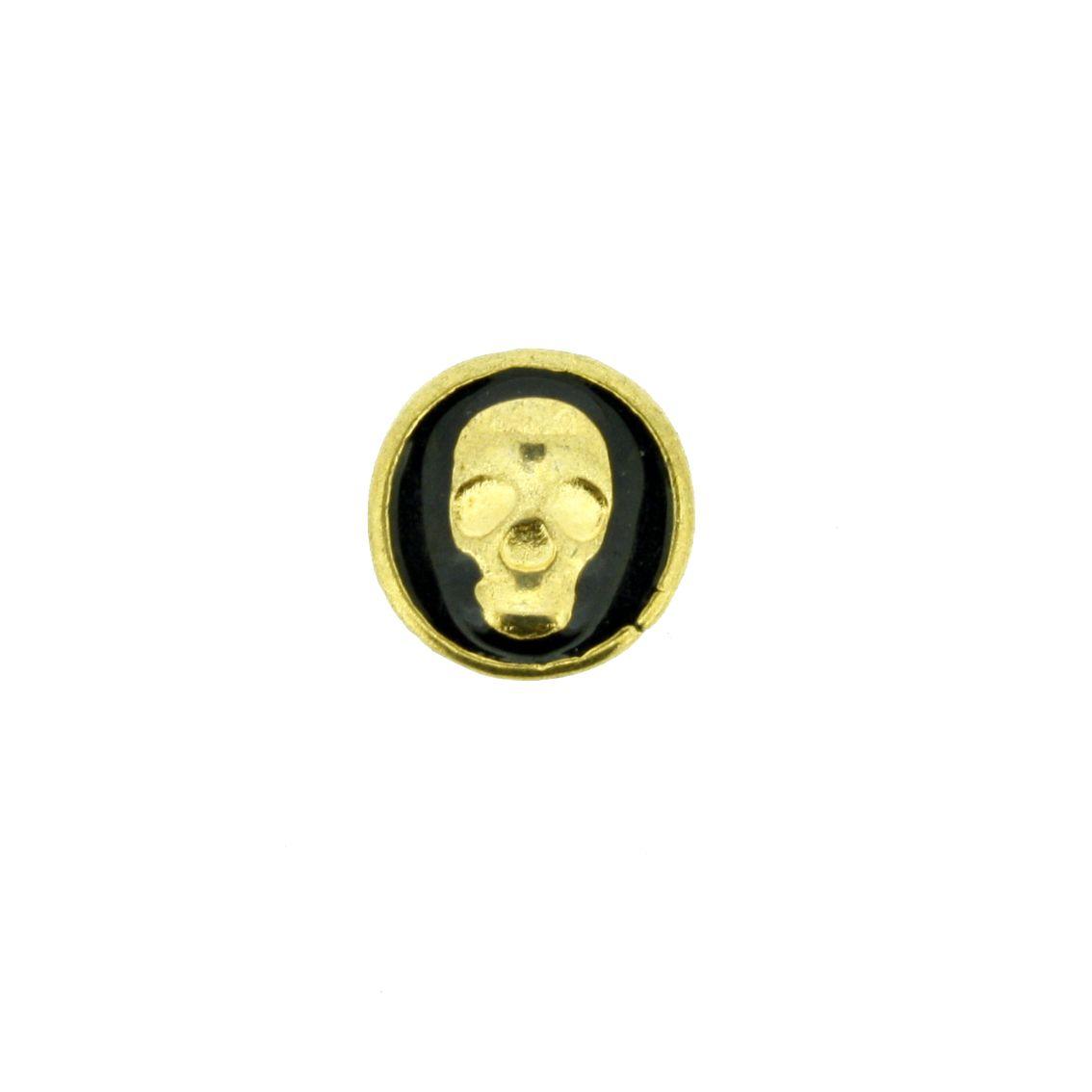 Caveira - Dourado com Preta - 9mm - 01 Peça  - Stéphanie Bijoux® - Peças para Bijuterias e Artesanato