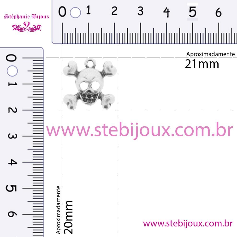 Caveira - Ouro Velho - 20mm  - Stéphanie Bijoux® - Peças para Bijuterias e Artesanato