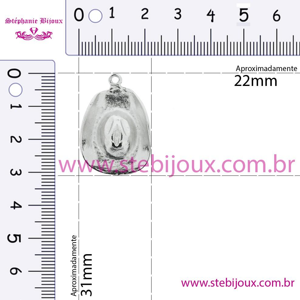 Chapéu Boiadeiro - Níquel - 31mm  - Stéphanie Bijoux® - Peças para Bijuterias e Artesanato