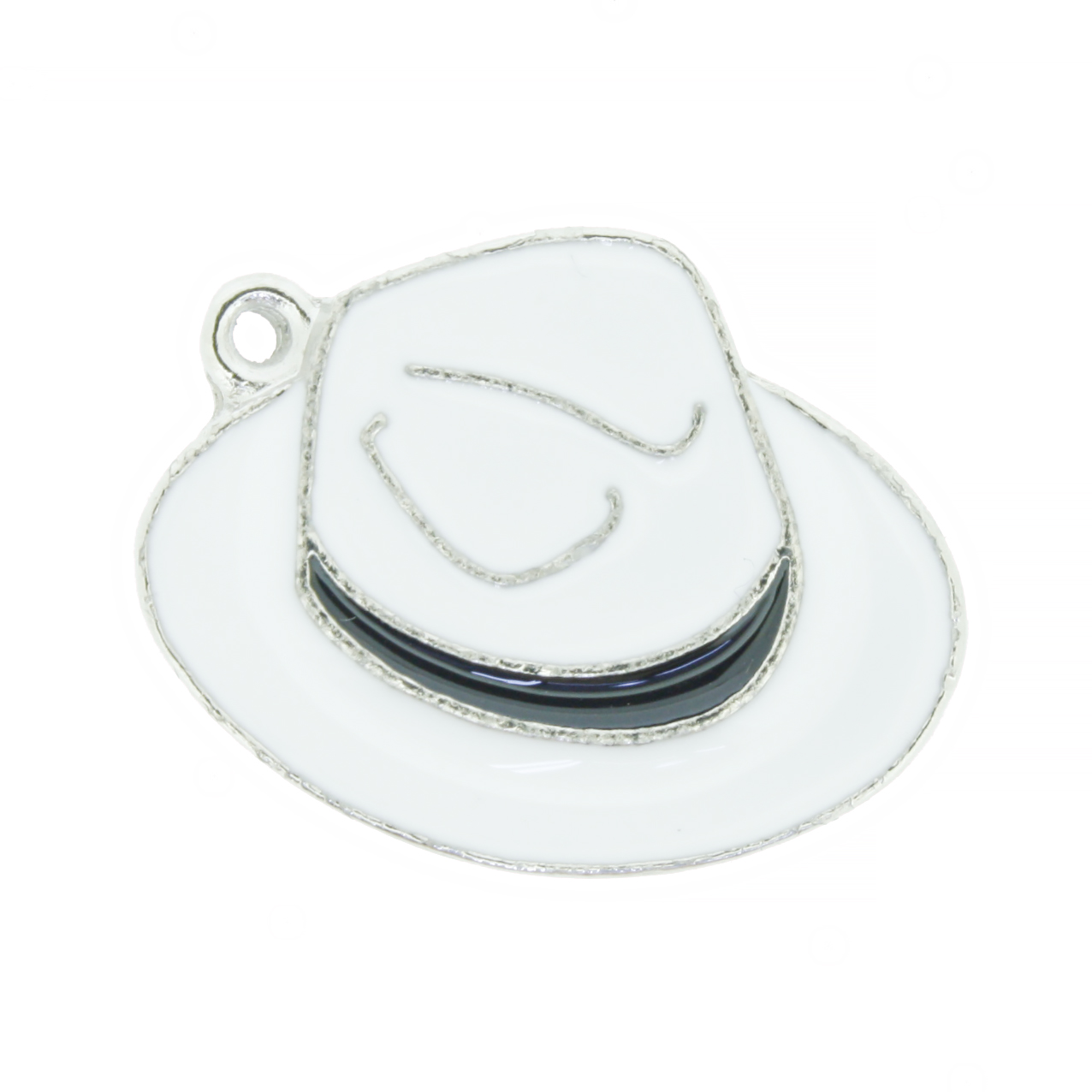 Chapéu Resinado Níquel - Branco e Preto - 22mm  - Stéphanie Bijoux® - Peças para Bijuterias e Artesanato