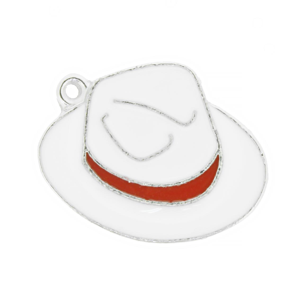 Chapéu Resinado - Branco e Vermelho - 22mm  - Stéphanie Bijoux® - Peças para Bijuterias e Artesanato