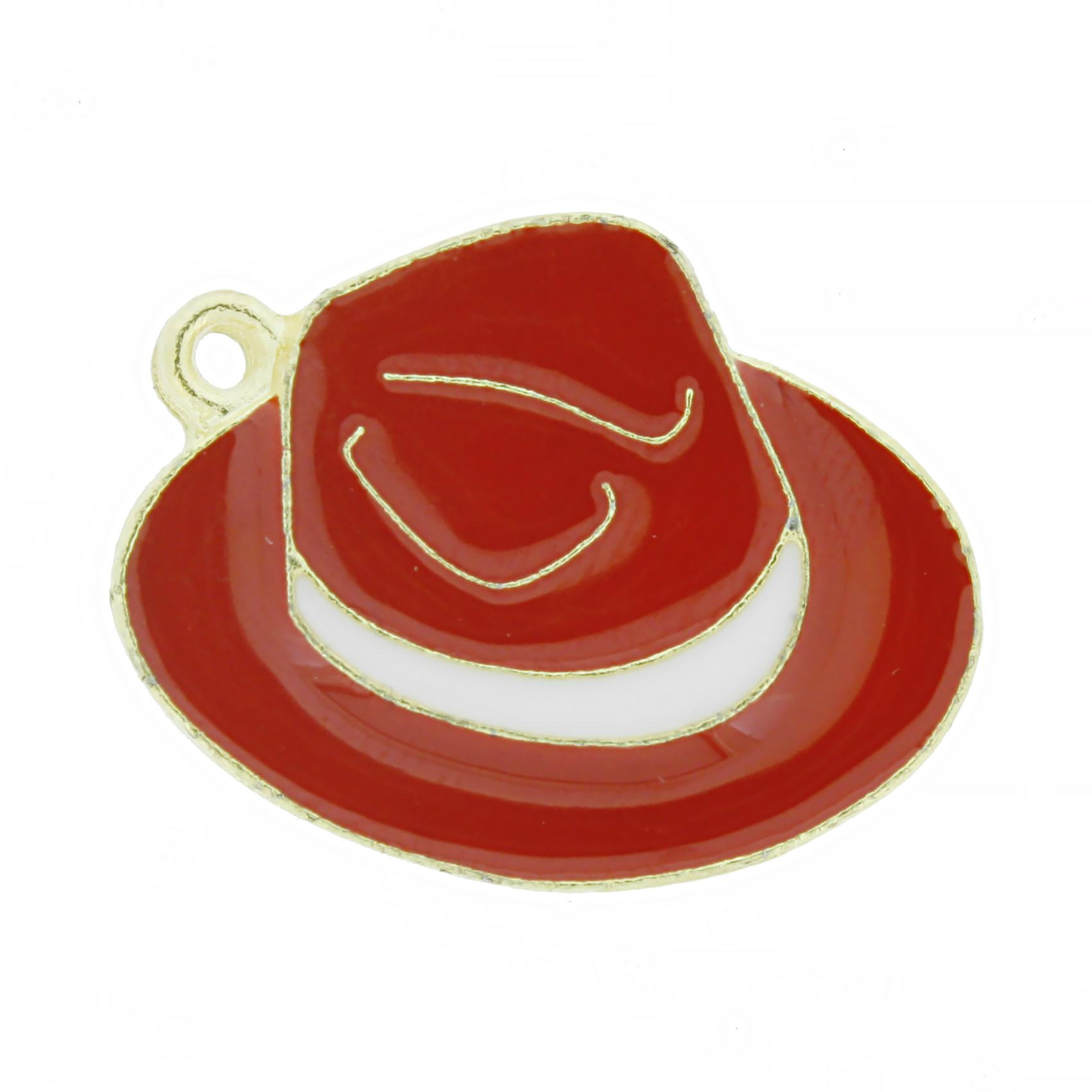 Chapéu Resinado Dourado - Vermelho e Branco - 22mm  - Stéphanie Bijoux® - Peças para Bijuterias e Artesanato