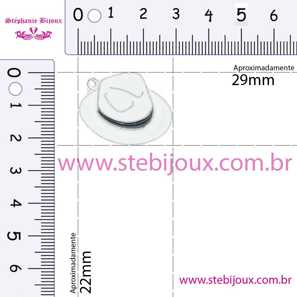 Chapéu Resinado Níquel - Preto e Vermelho - 22mm  - Stéphanie Bijoux® - Peças para Bijuterias e Artesanato