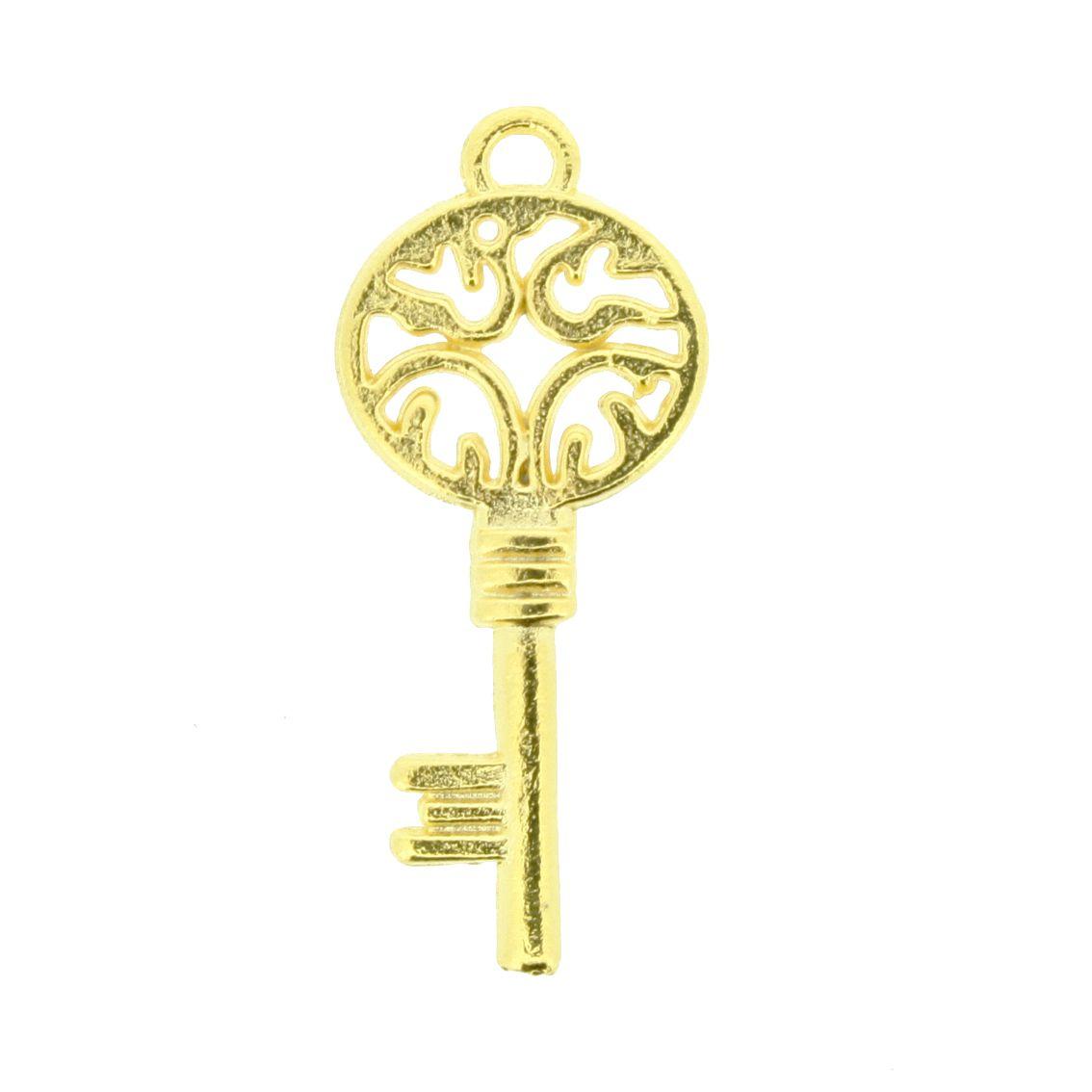 Chave - Dourado - 26mm  - Stéphanie Bijoux® - Peças para Bijuterias e Artesanato