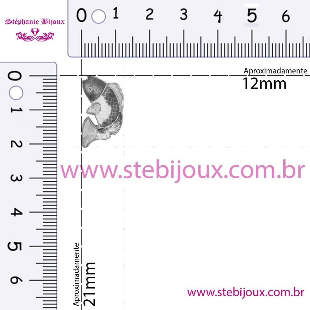 Cloisonné - Entremeio - Peixe - Marrom Claro e Branco  - Stéphanie Bijoux® - Peças para Bijuterias e Artesanato