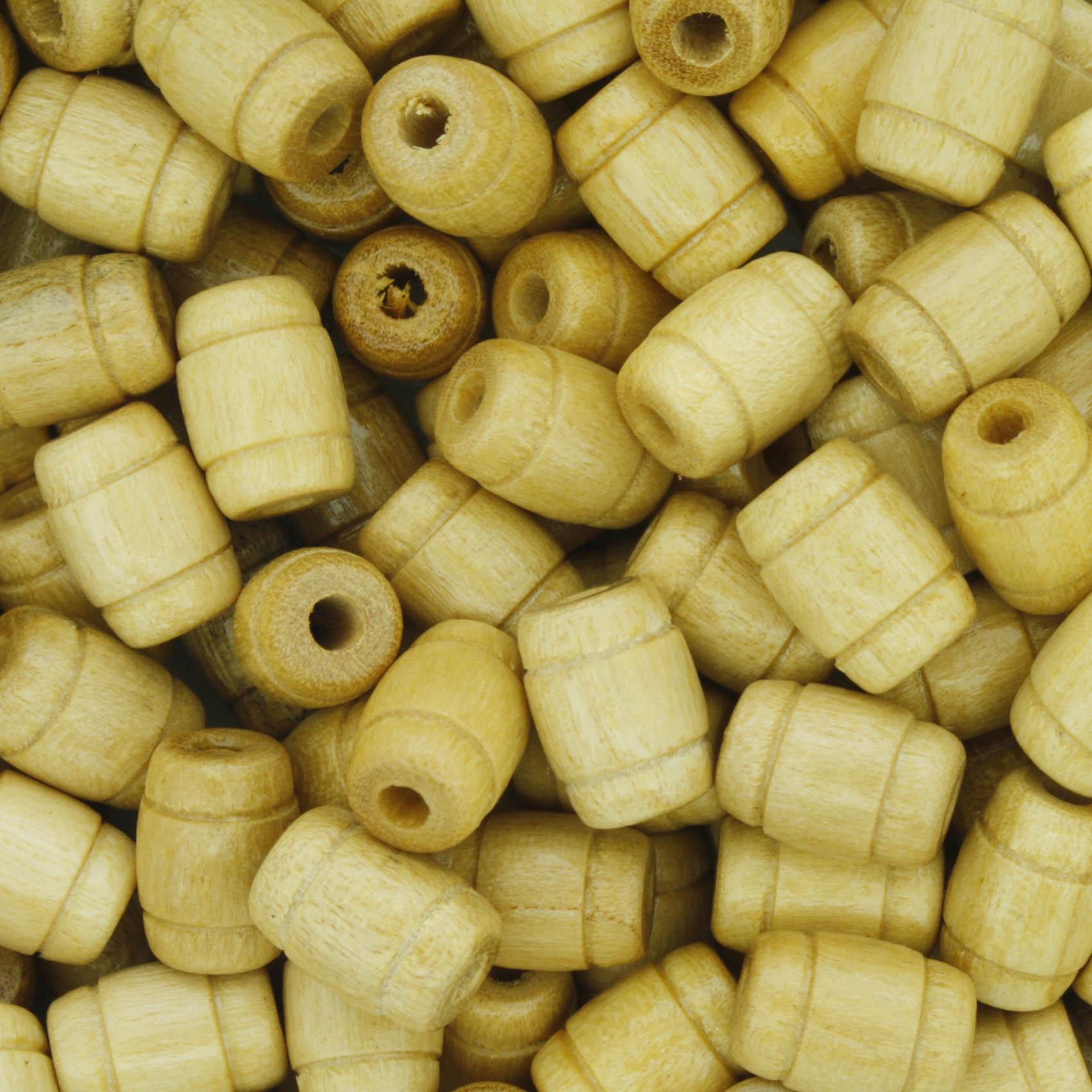 Contas de Madeira - 7x10mm Frisada - Marfim  - Stéphanie Bijoux® - Peças para Bijuterias e Artesanato