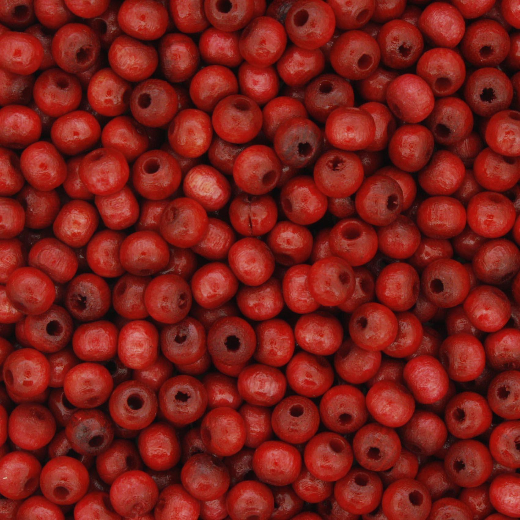 Contas de Madeira nº4 - Vermelha  - Stéphanie Bijoux® - Peças para Bijuterias e Artesanato