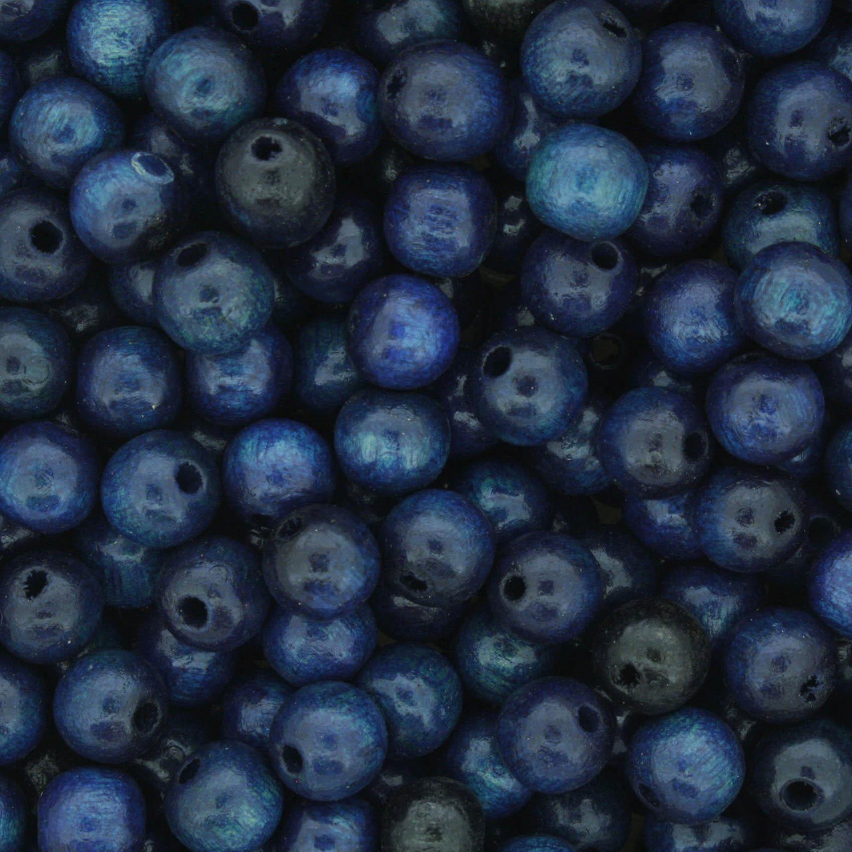 Contas de Madeira nº6 - Azul  - Stéphanie Bijoux® - Peças para Bijuterias e Artesanato