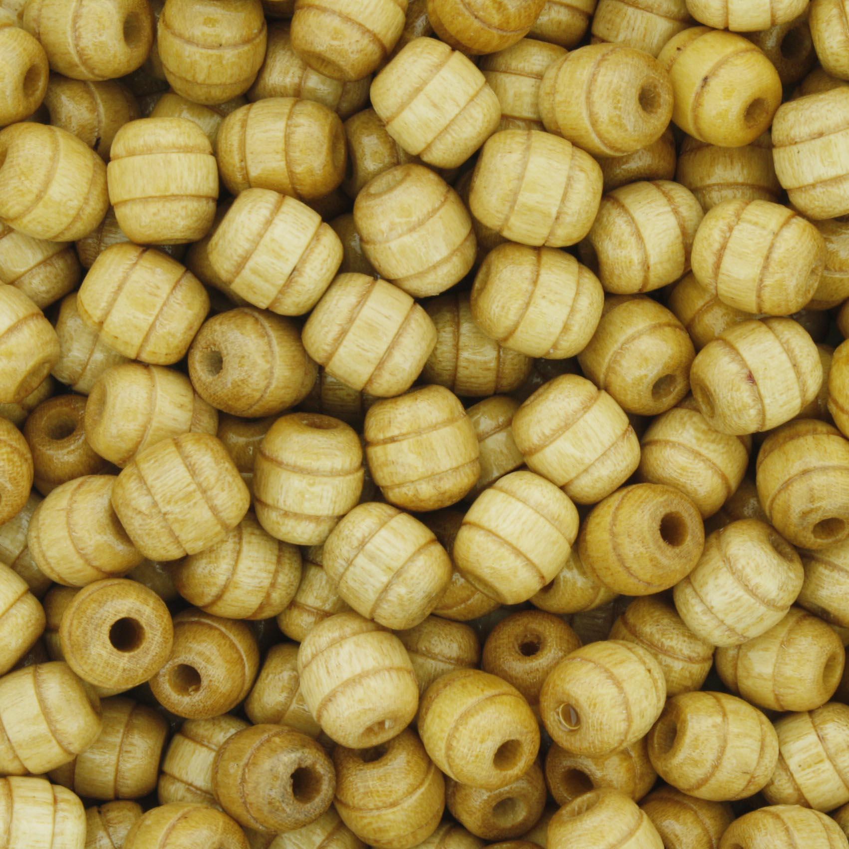 Contas de Madeira - 6x7mm Frisada - Marfim  - Stéphanie Bijoux® - Peças para Bijuterias e Artesanato