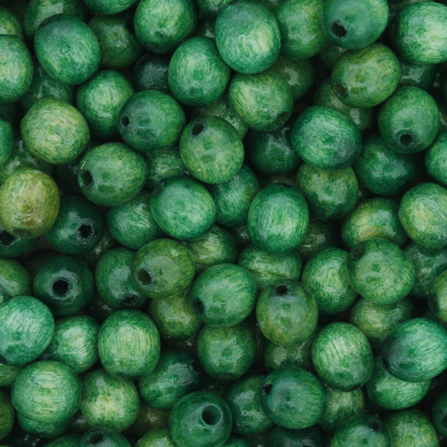 Contas de Madeira - Oval 6x8mm - Verde  - Stéphanie Bijoux® - Peças para Bijuterias e Artesanato
