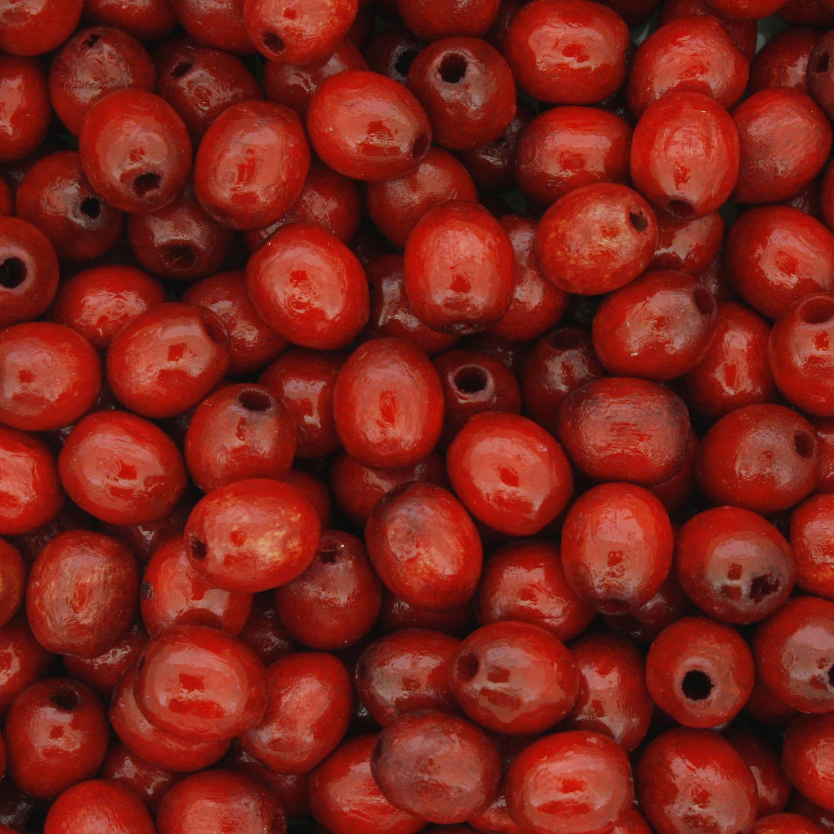 Contas de Madeira - Oval 6x8mm - Vermelha  - Stéphanie Bijoux® - Peças para Bijuterias e Artesanato