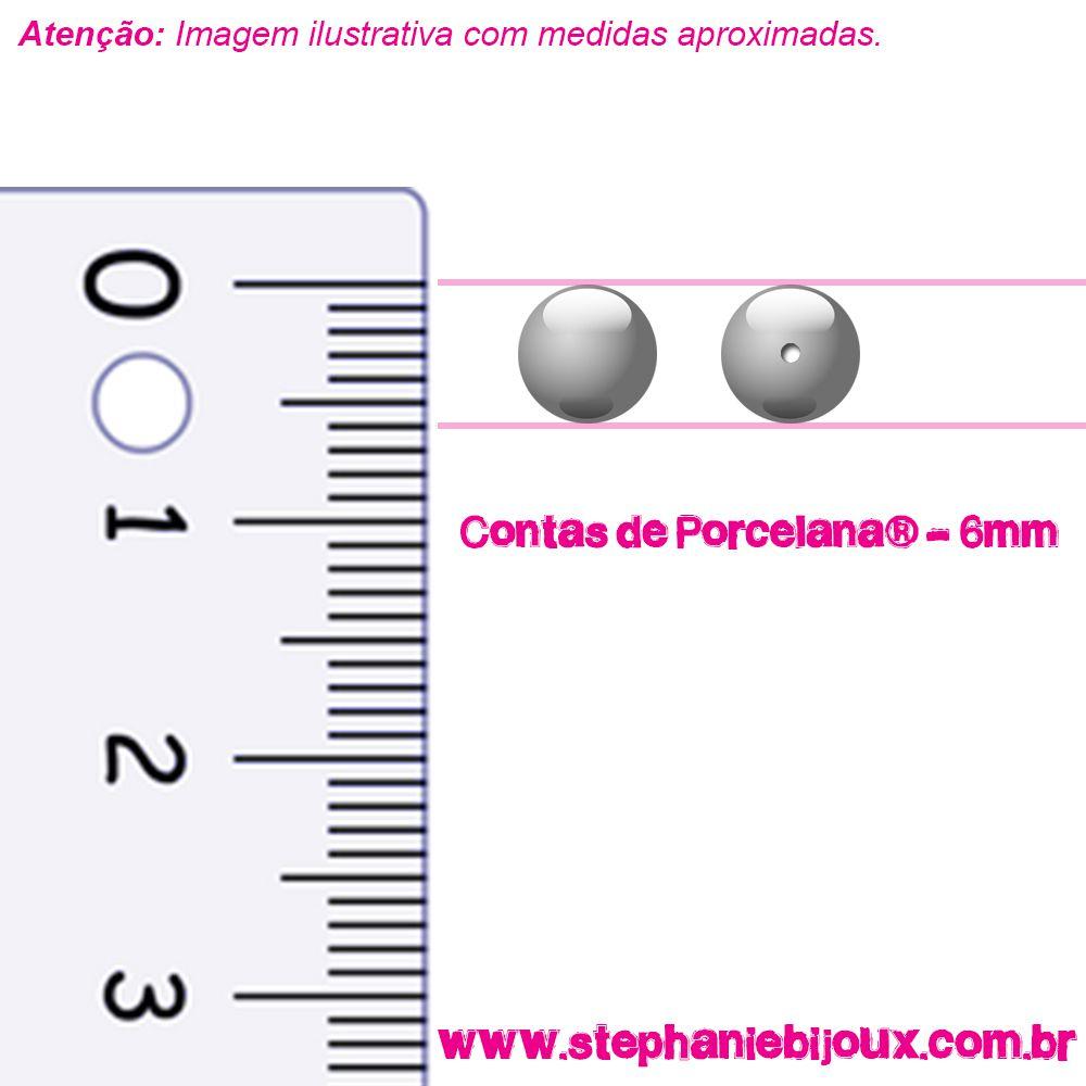 Contas de Porcelana® - Branca - 6mm  - Stéphanie Bijoux® - Peças para Bijuterias e Artesanato