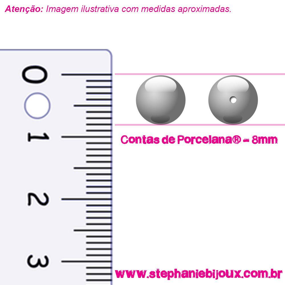 Contas de Porcelana® - Branca - 8mm  - Stéphanie Bijoux® - Peças para Bijuterias e Artesanato