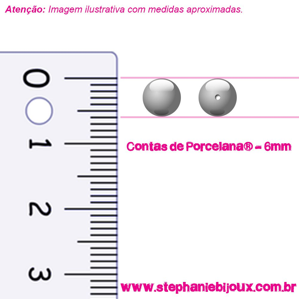 Contas de Porcelana® - Rosa Bebê - 6mm  - Stéphanie Bijoux® - Peças para Bijuterias e Artesanato