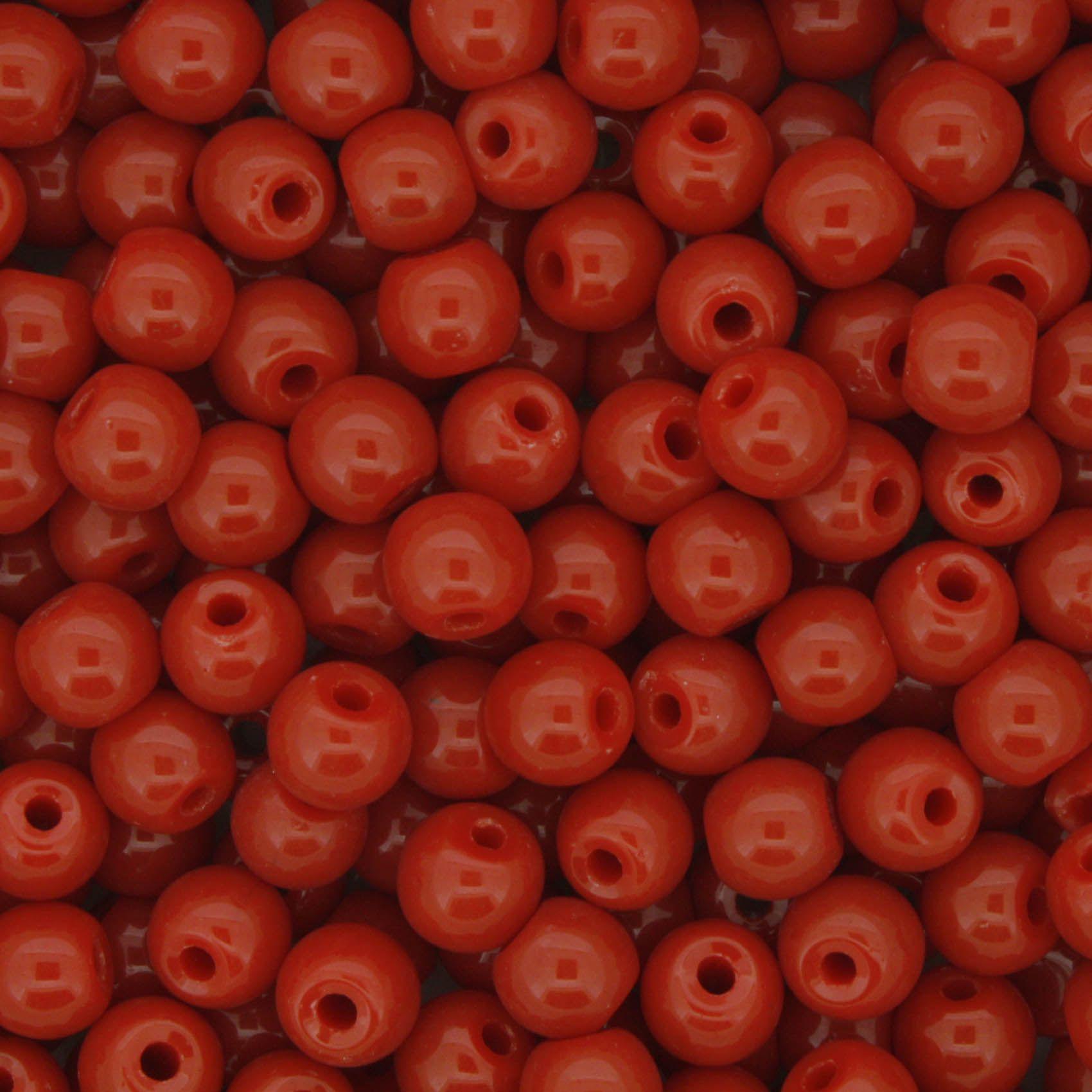 Contas de Porcelana® - Vermelha - 6mm  - Stéphanie Bijoux® - Peças para Bijuterias e Artesanato