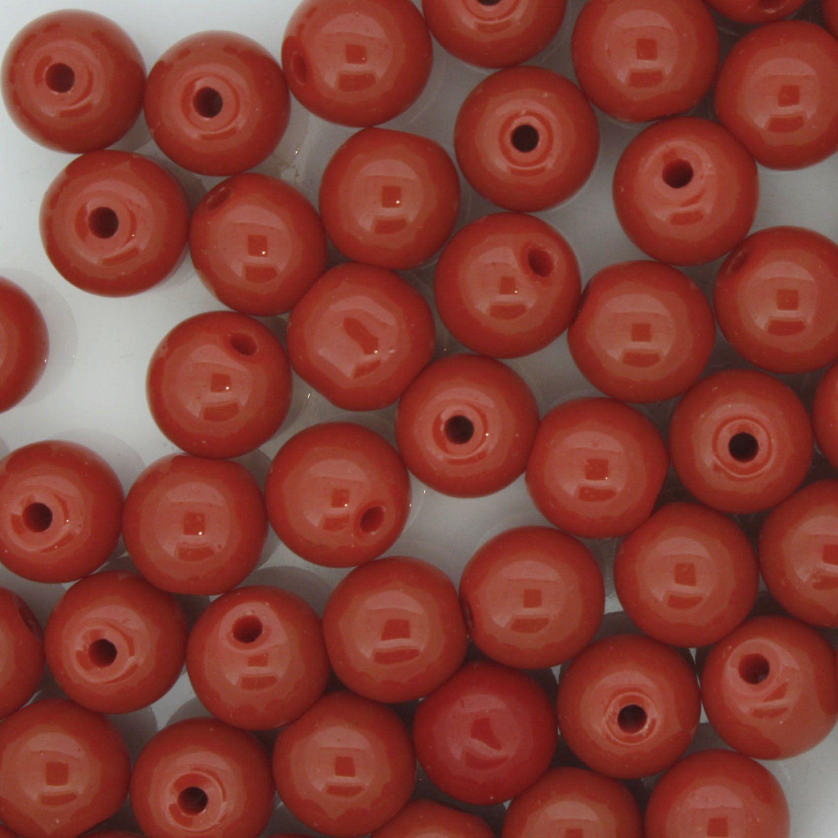 Contas de Porcelana® - Vermelha - 8mm  - Stéphanie Bijoux® - Peças para Bijuterias e Artesanato