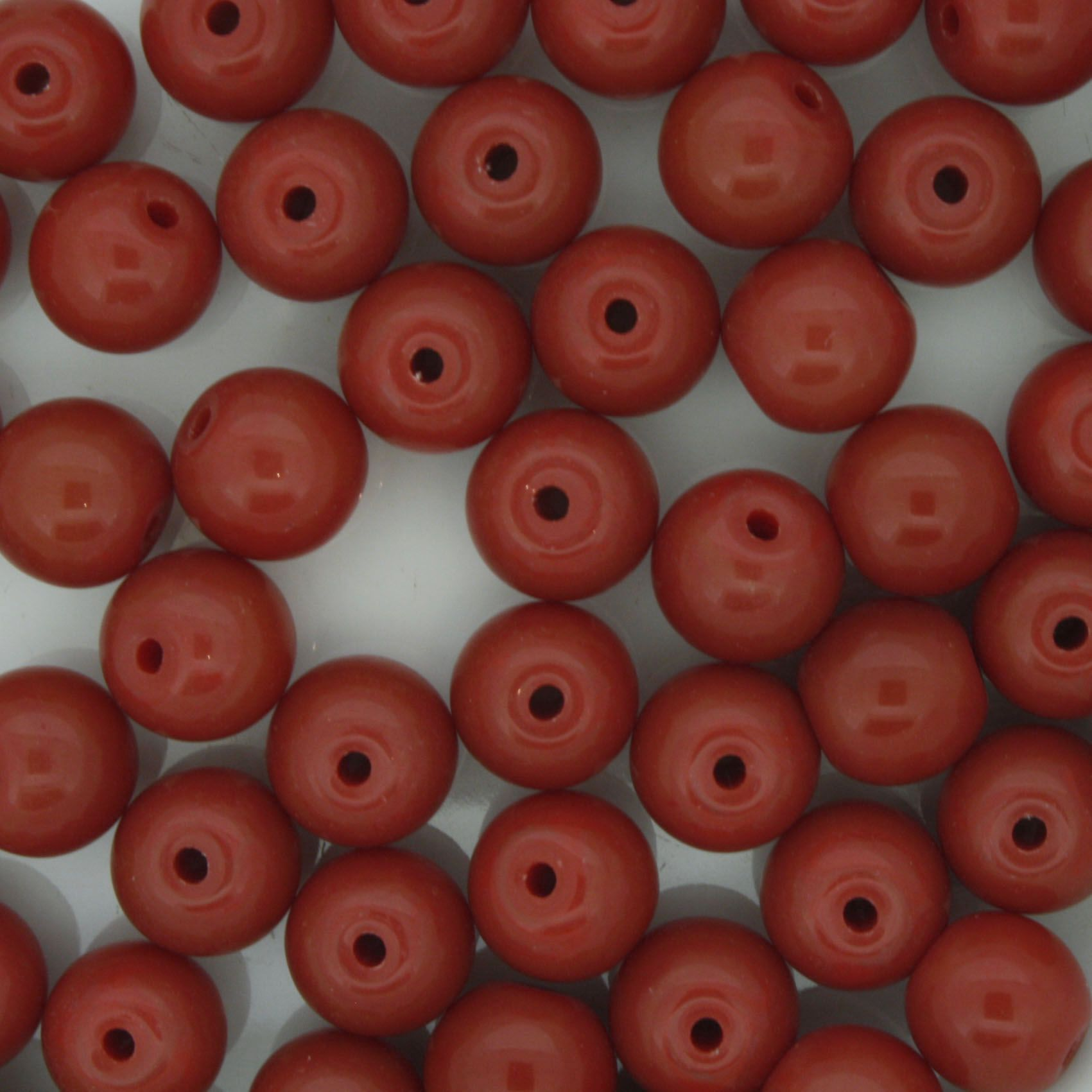 Contas de Porcelana® - Vermelha Escura - 8mm  - Stéphanie Bijoux® - Peças para Bijuterias e Artesanato