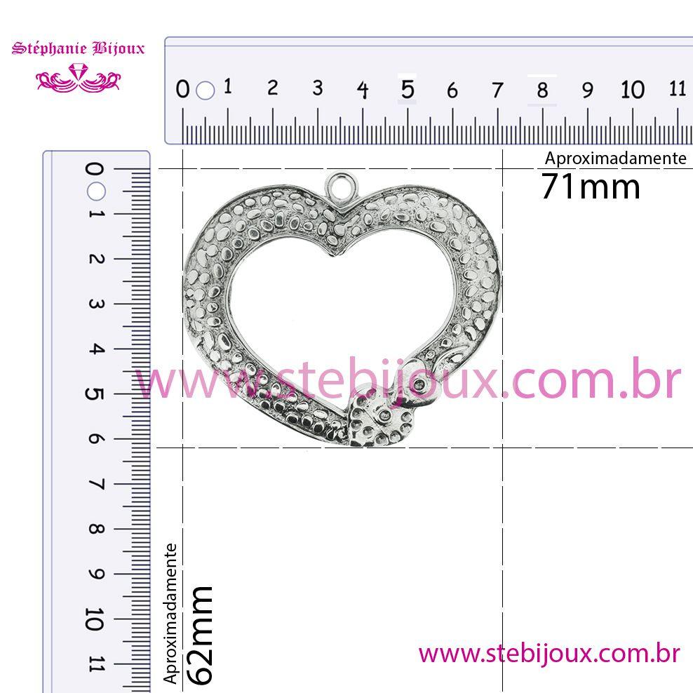 Coração - Níquel Velho - 62mm  - Stéphanie Bijoux® - Peças para Bijuterias e Artesanato