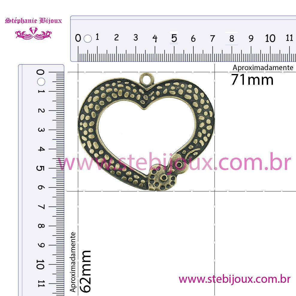 Coração - Ouro Velho - 62mm  - Stéphanie Bijoux® - Peças para Bijuterias e Artesanato