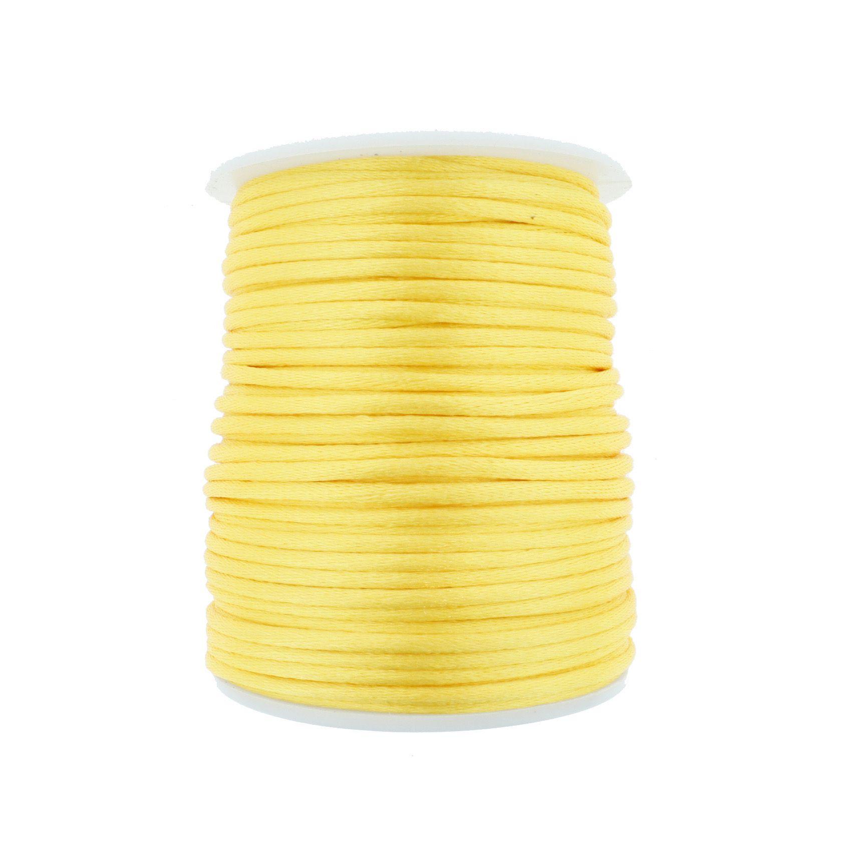 Cordão de Seda - Amarelo Gema - 2mm  - Stéphanie Bijoux® - Peças para Bijuterias e Artesanato