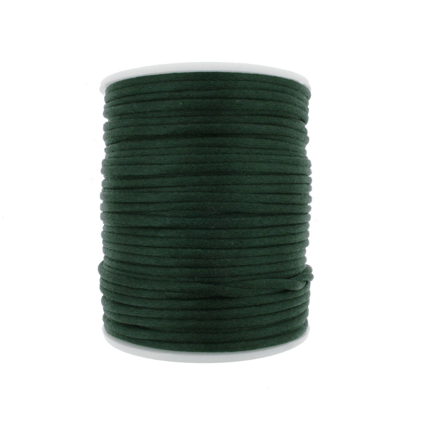 Cordão de Seda - Verde Escuro - 2mm  - Stéphanie Bijoux® - Peças para Bijuterias e Artesanato
