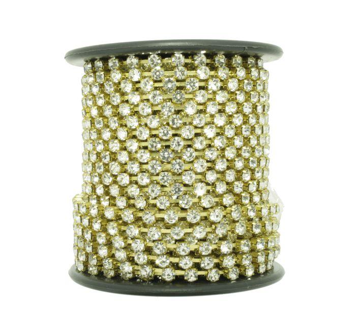 Corrente de Strass - Cristallo® - SS10 Dourado  - Stéphanie Bijoux® - Peças para Bijuterias e Artesanato