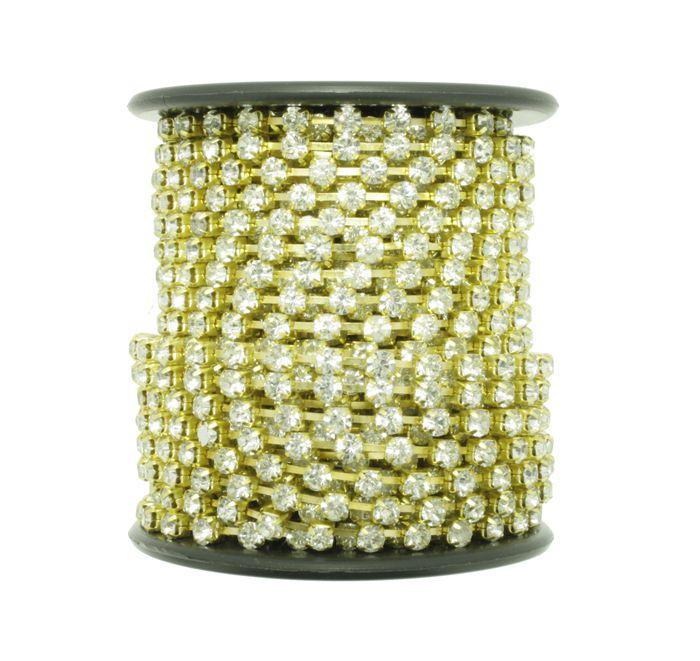 Corrente de Strass - Cristallo® - SS12 Dourado  - Stéphanie Bijoux® - Peças para Bijuterias e Artesanato