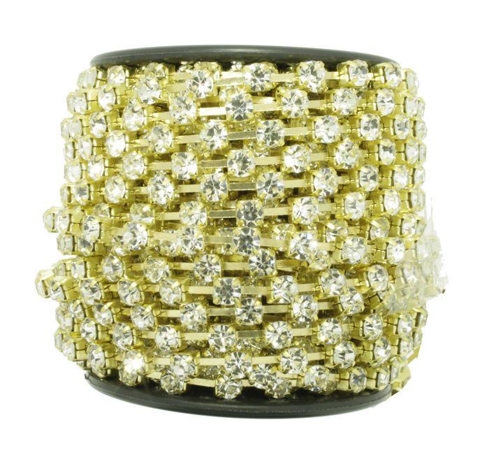 Corrente de Strass - Cristallo® - SS16 Dourado  - Stéphanie Bijoux® - Peças para Bijuterias e Artesanato