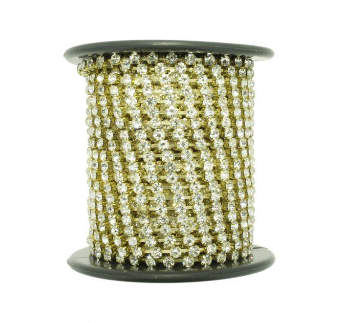 Corrente de Strass - Cristallo® - SS8 Dourado  - Stéphanie Bijoux® - Peças para Bijuterias e Artesanato