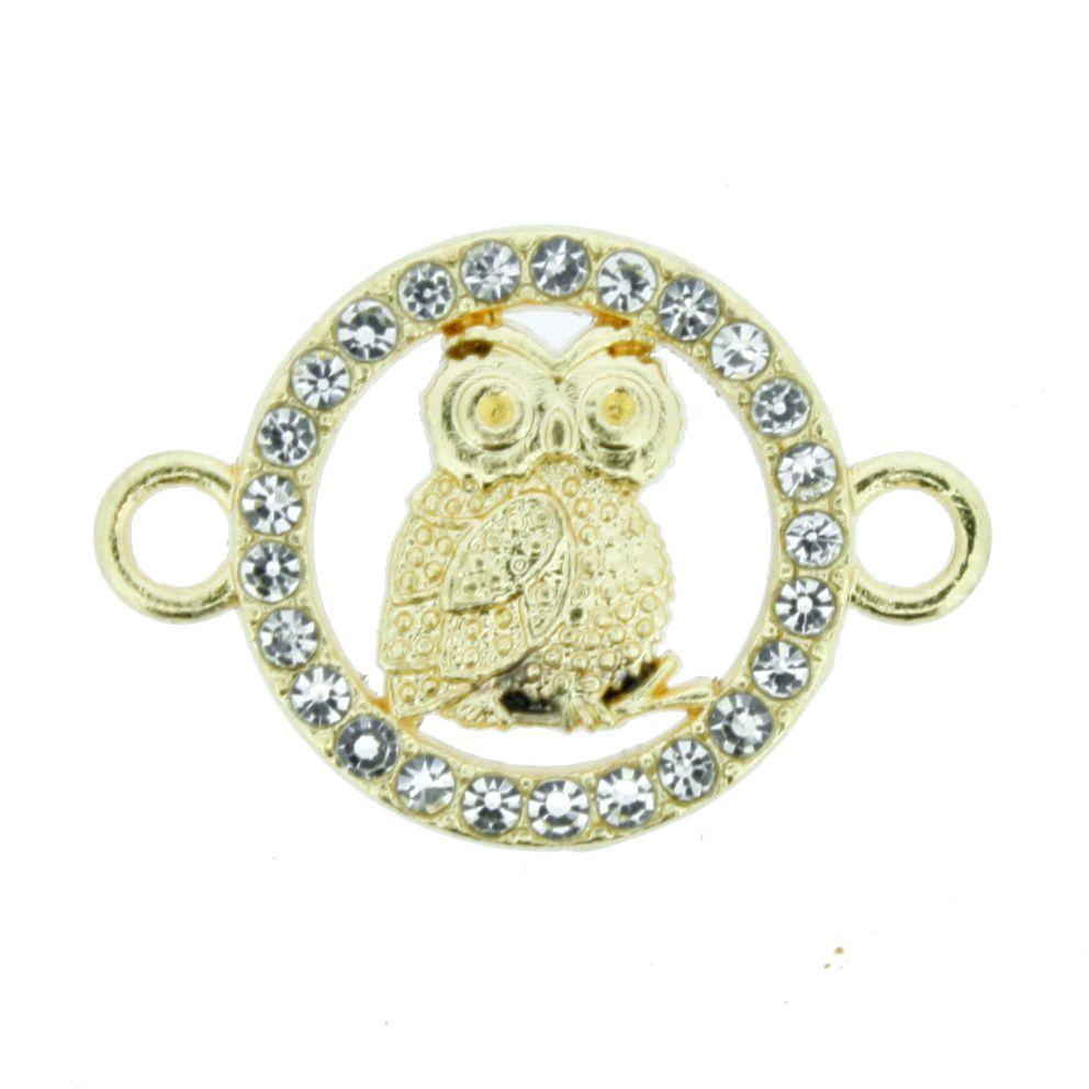 Coruja - Dourada com Strass - 17mm  - Stéphanie Bijoux® - Peças para Bijuterias e Artesanato