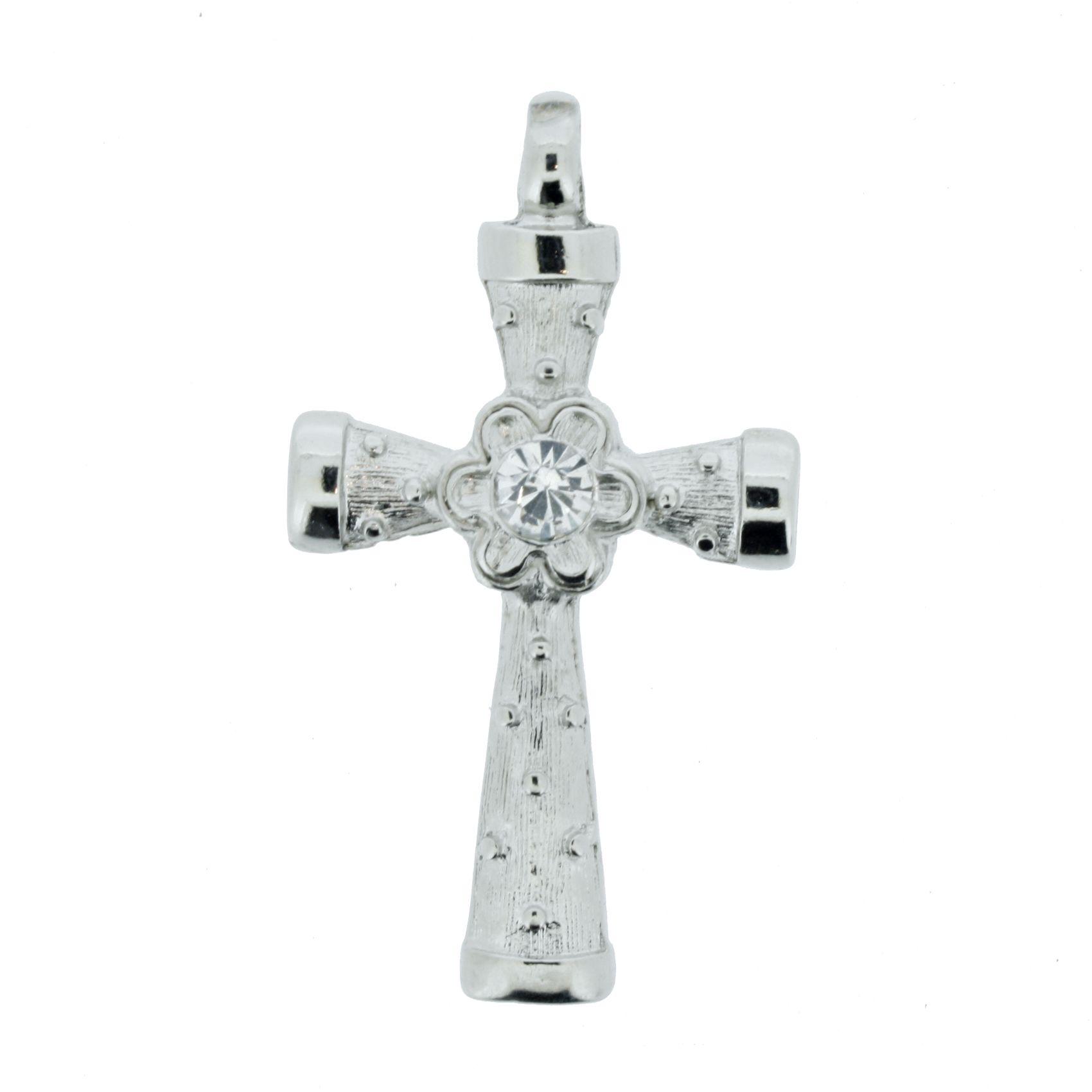 Crucifixo com Strass - Níquel - 48mm  - Stéphanie Bijoux® - Peças para Bijuterias e Artesanato