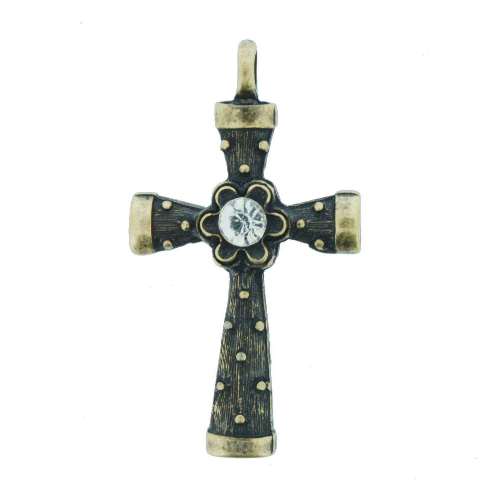 Crucifixo com Strass - Ouro Velho - 53mm  - Stéphanie Bijoux® - Peças para Bijuterias e Artesanato