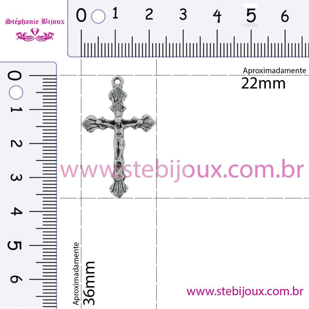 Crucifixo - Metal - Níquel Velho - 36mm  - Stéphanie Bijoux® - Peças para Bijuterias e Artesanato