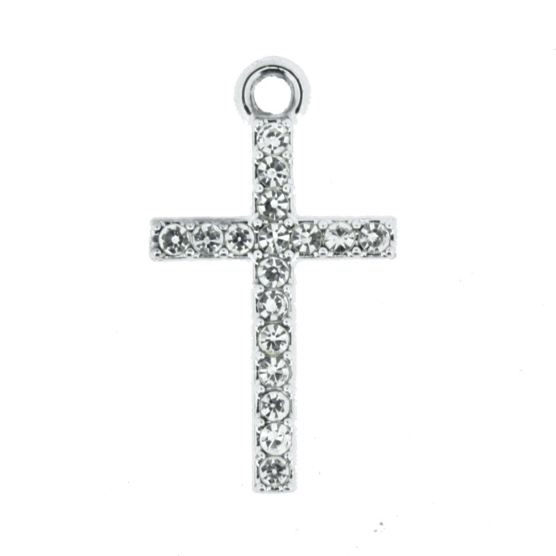 Crucifixo - Níquel com Strass - 25mm  - Stéphanie Bijoux® - Peças para Bijuterias e Artesanato