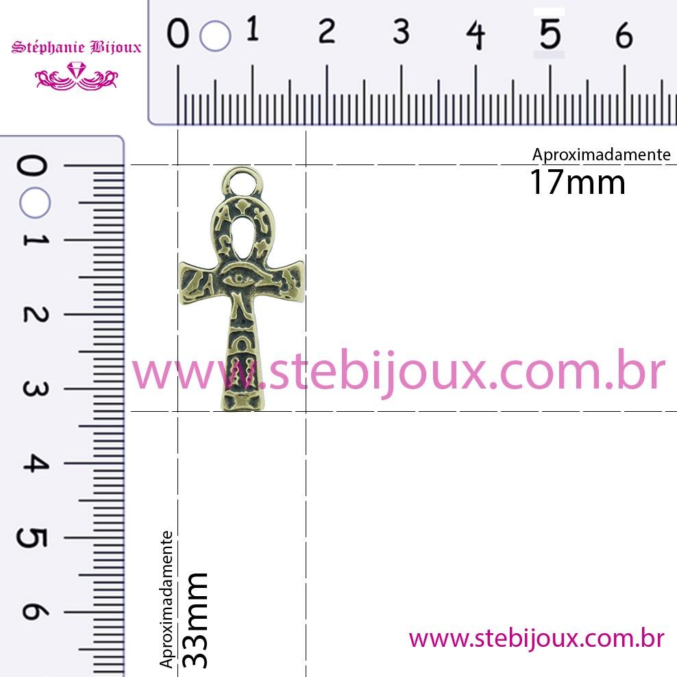 Cruz Ansata Olho de Horus - Níquel Velho - 33mm  - Stéphanie Bijoux® - Peças para Bijuterias e Artesanato